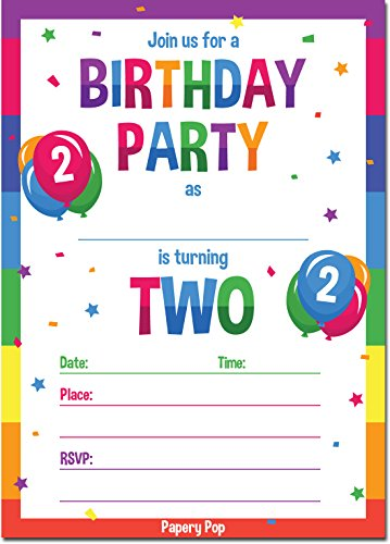2nd Birthday Party Invitations with Envelopes (15 Count) - 2 Year Old Kids Birthday Invitations for Boys or Girls - Rainbow by Papery Pop