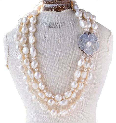 Chunky 10-11mm Baroque & 5mm Off Round White Freshwater Pearl Necklace with Sea Shell Clasp Three Layers