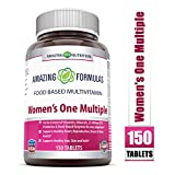 Amazing Formulas Women's One Multiple - 150 Tablets - Perfect Blend of Vitamins, Minerals, 25 Million CFU probiotics & Food-Based enzymes for Easy Digestion, Supports Healthy Heart, reproductive,
