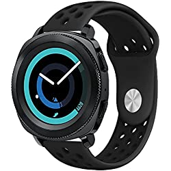 Gear Sport Band, KADES Soft Silicone Band Breathable Strap Compatible for Samsung Galaxy Watch 42mm/ Garmin VivoActive 3/ Ticwatch 2/ Ticwatch E/Amazfit Bip Smart Watch- Black/Black