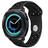 Gear Sport Band, KADES Soft Silicone Band Breathable Replacement Strap Quick-release Pin for Pebble Time Round 20mm/Ticwatch 2/Ticwatch E/Garmin VivoActive 3/20mm Smart Watch Band- Black/Black