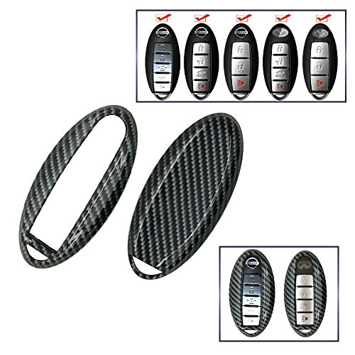 carmonmon Smart Remote Fob Key Case Cover 3 4 5 Buttons Replacement for Nissan Or Infiniti (Carbon Gloss Fiber)