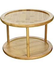 Greenco GRC2554 Premium Bamboo 2 Tier Lazy Susan Turntable,Brown