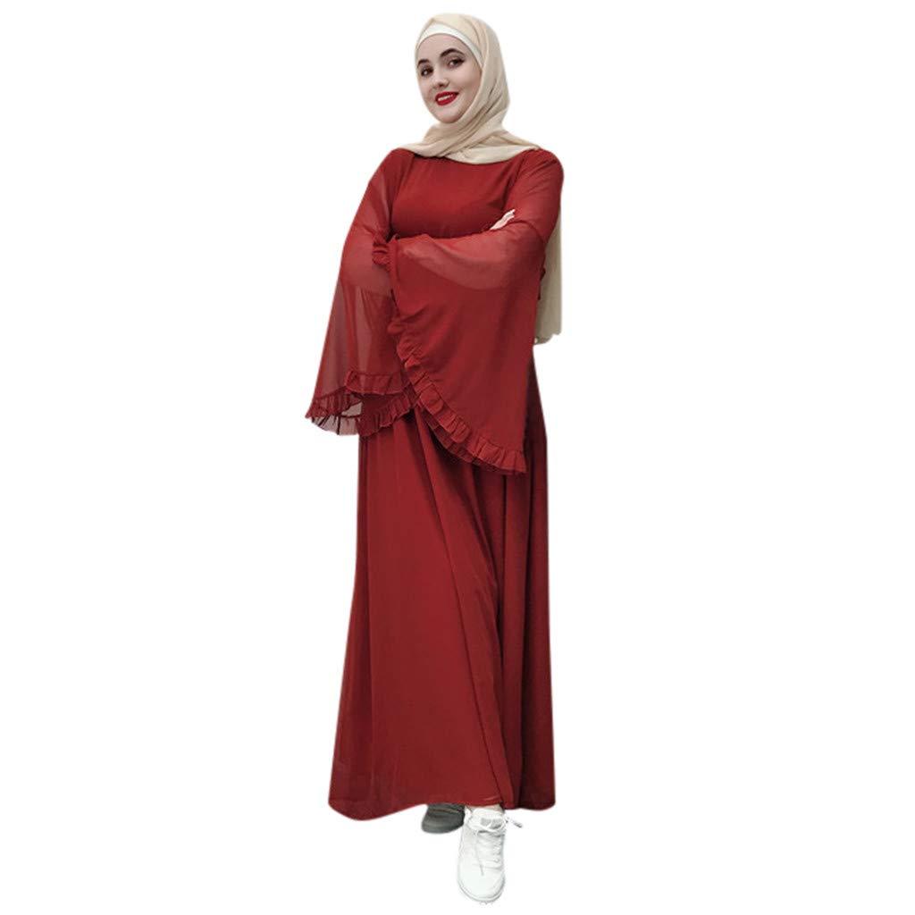 Women Muslim Maxi Dress Flowy Long Sleeve Abaya Kaftan Dress Elegant Empire Bell Sleeve Dubai Robe Gown Outfits Belt S-2XL (Red, 2XL/Bust:48'')