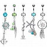 KAVANI 5Pcs 14G Stainless Steel Dangle Belly Button Rings for Women Girls CZ Navel Rings Body Piercing Jewelry