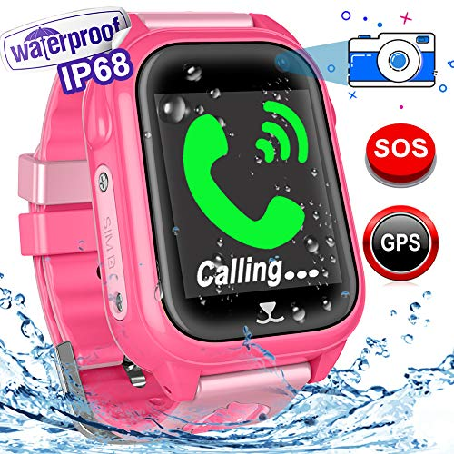 Woqoo Kids Smart Watch Phone-GPS Tracker IP67 Waterproof Fitness Tracker for Girls Boys Back to School Gift Smartwatch with Game SOS Call Camera Electronic Learning Toys for Birthday Halloween For Sale
