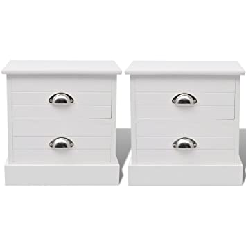 Anself White Bedside Cabinets Storage Cabinet Nightstands Tables Set