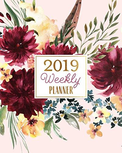 2019 Weekly Planner: 2019 Spendid Planner, Blush Pink & Watercolor Blooms Agenda Book