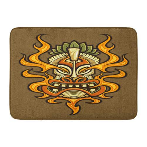 Emvency Doormats Bath Rugs Outdoor/Indoor Door Mat Hawaiian Tattoo of Fire Breathing Tiki Head Mask Tribal Asian Culture Bathroom Decor Rug Bath Mat 16