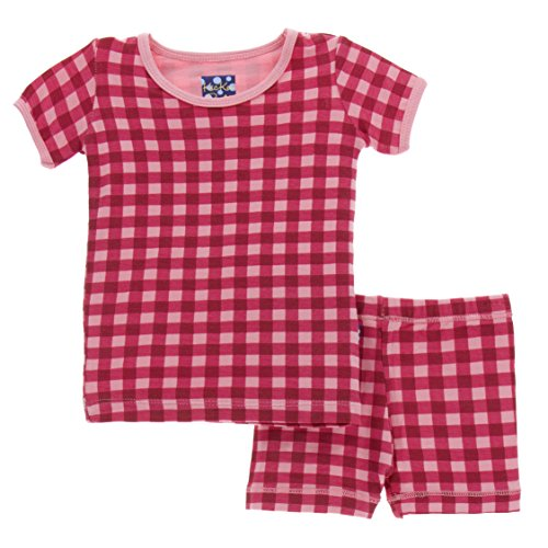Kickee Pants Little Girls Print Short Sleeve Pajama Set with Shorts, Flag Red Gingham, Girls 6 ()