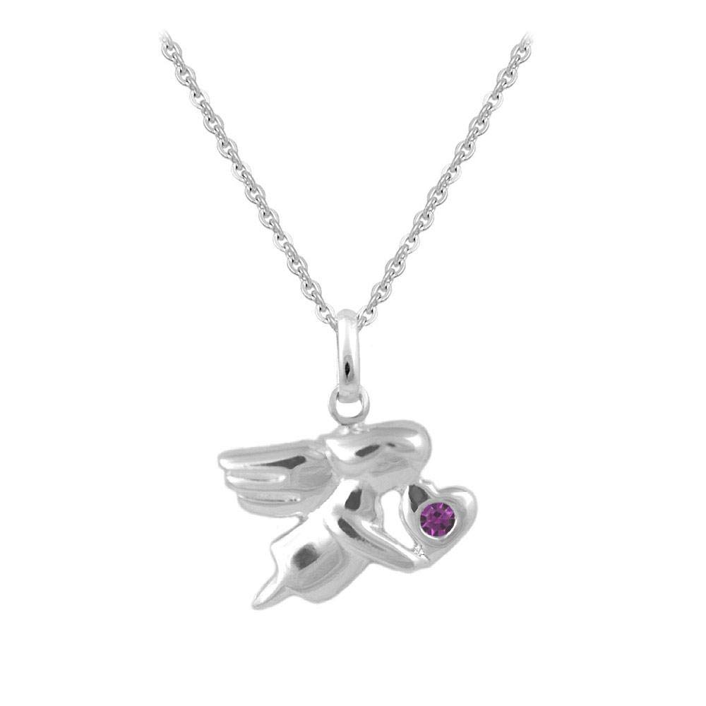 12-18 In Sterling Silver Simulated Birthstone Angel Necklace For Children /& Teen Girls