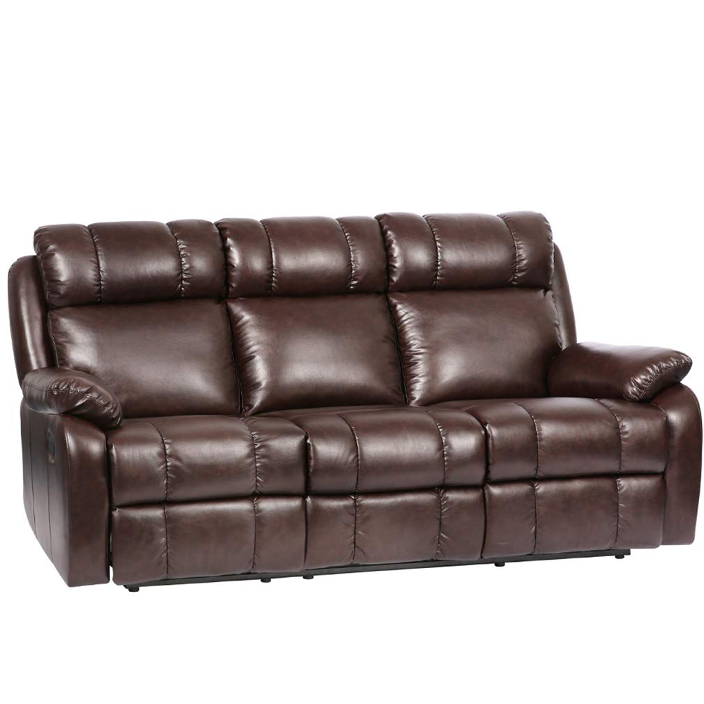 Recliner Sofa PU Leather Sofa Recliner Couch Manual Reclining Sofa Recliner  Chair, Love Seat,and Sofa (3 Seater) for Living Room