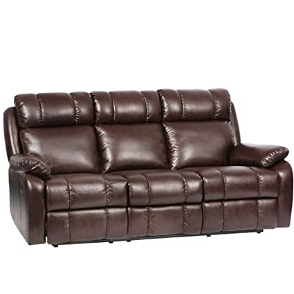 Amazon.com: FDW Recliner Sofa PU Leather Sofa Recliner Couch Manual ...