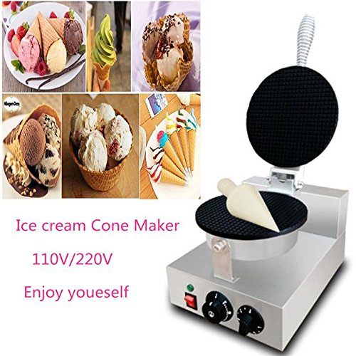 Katoot@ DIY Electric Nonstick Ice Cream Waffle Cone Maker Machine Baker Pastry Making Baking Tools 110/220v Ice Cream Cone Maker (110V)