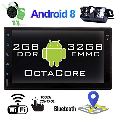 Android Car Stereo Double Din Car Bluetooth Stereo 2DIN Car Radio with Backup Camera 7 Inch GPS Navigation for Car Video Player in-Dash Head Unit Support Mirror Link/WiFi/DVR//OBDII
