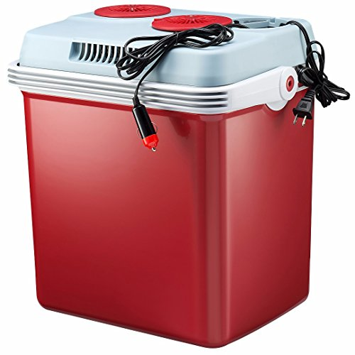 Knox Electric Cooler and Warmer for Car and Home - 34 Quart (32 Liter) - Dual 110V AC House and 12V DC Vehicle Plugs - Red