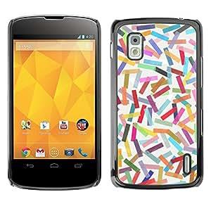 TopCaseStore / la caja del caucho duro de la cubierta de protección de la piel - Abstract Colorful Pastel Lines Pattern - LG Google Nexus 4 E960