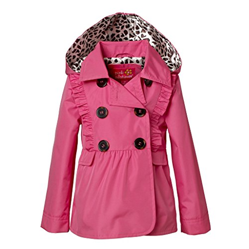 Ruffle Peacoat (Pink Platinum PP682462-PNKGLO-12M Jacket for Girls – Lightweight Peacoat Trench with Ruffle Detail)