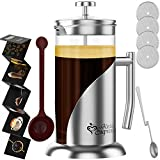 French Press Coffee & Tea Maker Complete Bundle | 34 Oz | Best Coffee Press Pot with Stainless Steel...