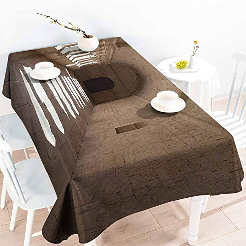 Homrkey Washable Table Cloth Apartment Decor Collection France Provence Senanque Abbey Corridor Antique Medieval Landmark Classic Decoration Beige Easy to Clean W70 xL102