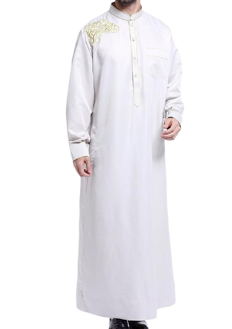 Coolred Mens Muslim Islamic Printing Relaxed-Fit Kaftan Maxi Dress White L
