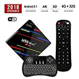 2018 Upgraded Android 8.1 TV Box, RK3328 Quad-Core 4GB 32GB Smart Set Top Box Support 4K (60Hz) H.265/2.4G WiFi/USB 3.0/100M LAN with Wireless Backlit Keyboard