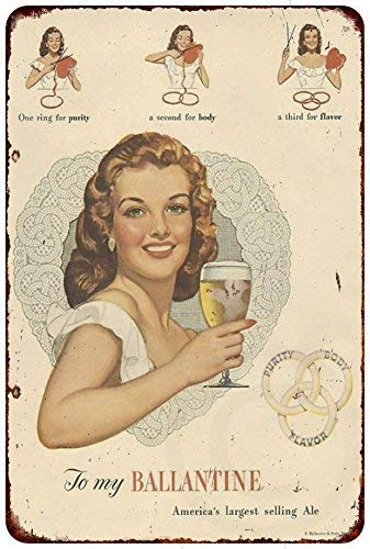 Ballantine Ale - Jesiceny New Tin Sign Ballantine Ale & Beer Vintage Aluminum Metal Sign 8x12 Inches