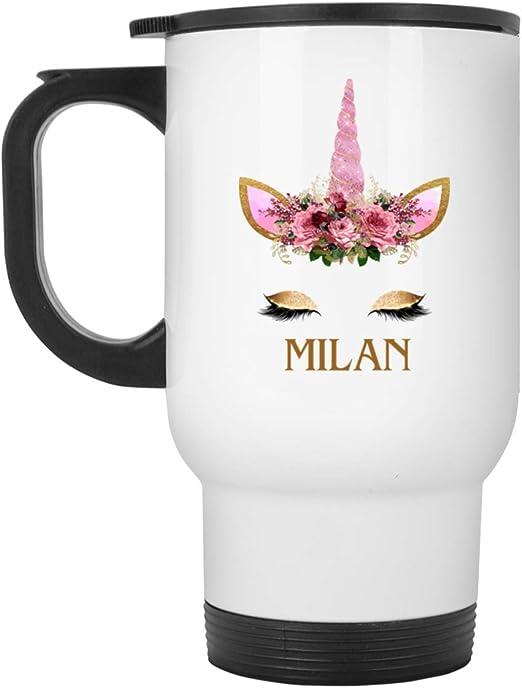 14oz Personalised Cute Floral Unicorn Novelty Stainless Steel Travel Mug