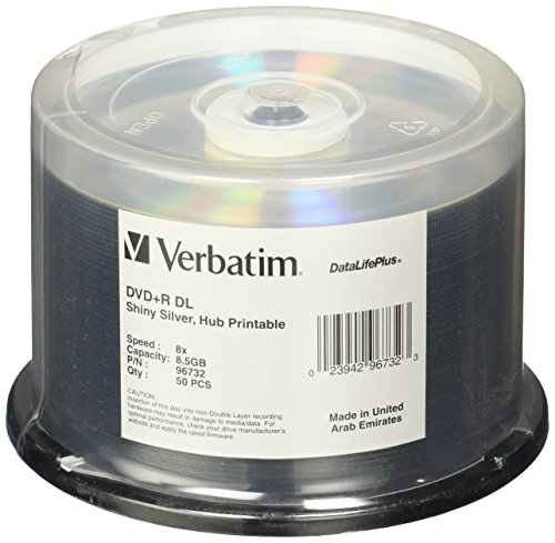 Price comparison product image Verbatim DVD+R DL 8.5GB 8X DataLifePlus Shiny Silver Silk Screen Printable - 50pk Spindle