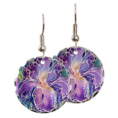 - CafePress - Iris! Beautiful, Purple Flower, Earring Circle Cha - Charm Earrings with Round Pendant