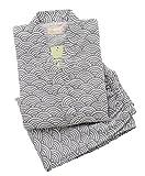 Soojun Men's Solid Color Kimono Top with Pocket and Pant Pajamas Set, Style 2, Gray Wave