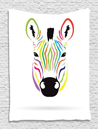 Ambesonne Animal Tapestry Zebra Decor, Colorful Exotic Zebra Abstract Artwork Print, Wall Hanging Art for Bedroom Living Dining Room Dorm, Black and White Red Green Blue Orange Magenta and (Zebra Pink Wall Hangings)