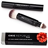Premium Double Ended Retractable Kabuki Makeup Brush - Synthetic Vegan Cruelty Free Bristles - For Loose Powder Cream and Liquid Make Up - Travel Set
