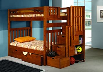 Amazon Bunk Bed Twin over Twin Mission Style in Honey with