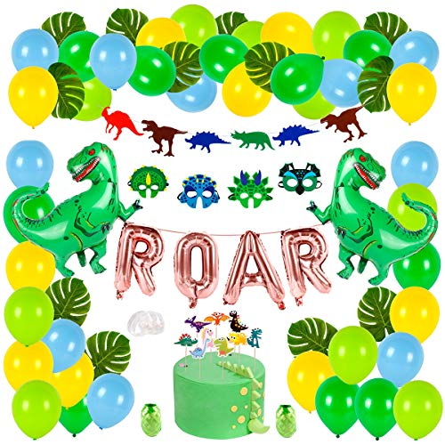 Dinosaur Party Supplies Dino Birthday Party Decoration Set forKids, ROAR Banner Dinosaur Balloons and Cake Topper, Colorful Felt Garland, Dinosaur Mask for Jungle Dinosaur Theme Birthday Party Supplies