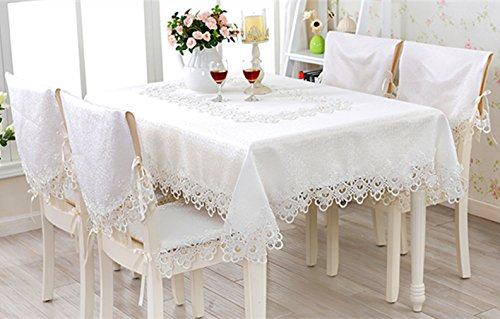 TaiXiuHome White European Style Minimalist Floral Embroidery Lace Tablecloth Hollow Top Decoration Square approx 43x43 inch (110x110cm) - European Tablecloth