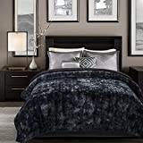Chanasya Faux Fur Bed Blanket | Super Soft Fuzzy Light Weight Luxurious Cozy Warm Fluffy Plush Hypoallergenic Throw Blanket for Bed Couch Chair Fall Winter Spring Living Room (Twin) - Black
