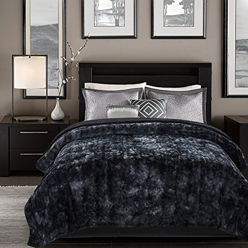 Chanasya Super Soft Fuzzy Fur Faux Fur Cozy Warm Fluffy Beautiful Color Variation Print Plush Sherpa Black Fur Microfiber Bed Blanket ( Queen / Full ) - Black Waivy Fur Pattern