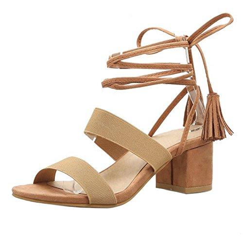 COOLCEPT Mujer Moda Cordones Sandalias Punta Abierta Slingback Tacon Ancho Zapatos Amarillo