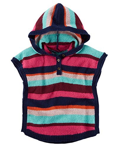 Carters Little Girls Striped Pullover Button Front Hooded Poncho Sweater (4t)