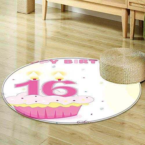 Mikihome Non Slip Round Rugs 16th Birthday Decorations Cupcake Candle Teen Girls Style Sweet Surprise Illustration Fuchsia Yellow Decor Oriental Floor and Carpets R-24