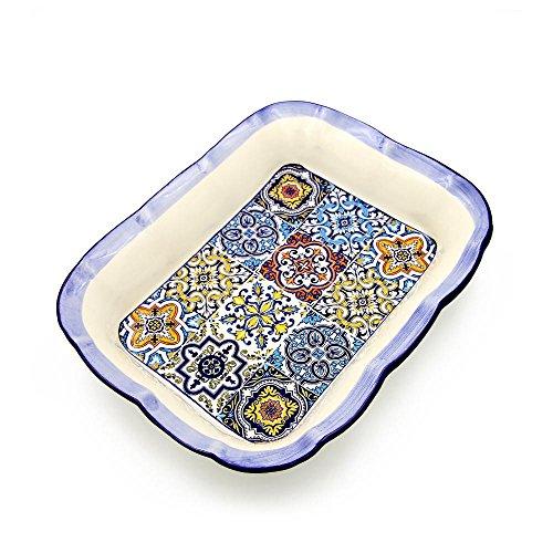Portugal Ceramic - Hand-painted Traditional Portuguese Ceramic Rectangular Salad Bowl
