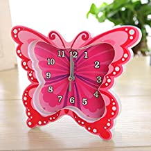 SSBY Color Butterfly style alarm clock, creative couple gifts home plastic ornaments clock 188*150*13mm , red