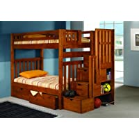 Bunk Bed Twin over Twin Mission Style in Honey with Stairway and Drawers by DONCO