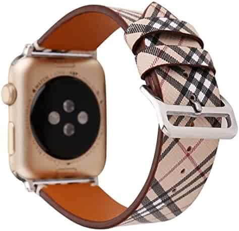 TCSHOW For Apple Watch Band 42mm,42mm Soft PU Leather Pastoral/Rural Style Replacement Strap Wrist Band with Silver Metal Adapter for Apple Watch Series 3 Series 2 Series 1