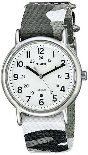 Timex Unisex T2P366 Weekender Gray Camo Slip-Thru Nylon Strap Watch