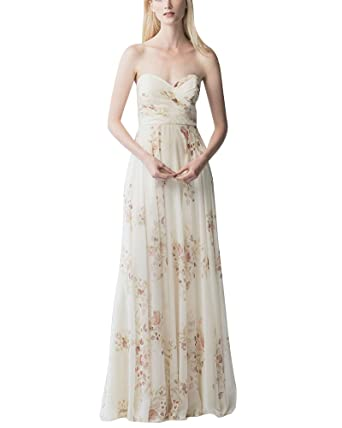 Womens Strapless Floral Chiffon Bridesmaid Dress Maxi Long Evening Party Prom Gown Dress White XL