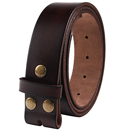 NPET Men's Genuine Leather Belt Full Grain Snap On Belts 1.5