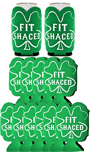 Funny Beer Coolie St. Patrick's Day Fit Shaced Party 12 Pack Can Coolies Drink Coolers Kelly Green