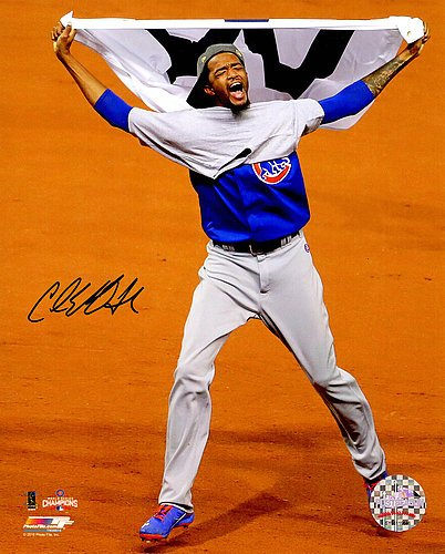 Carl Edwards Jr. Signed Chicago Cubs 2016 World Series Celebration Waving White W Flag 8x10 Photograph - Certified Authentic Autograph